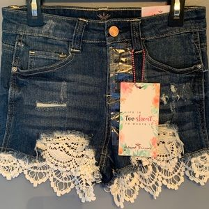 Almost Famous Juniors High Rise Denim Shorts,